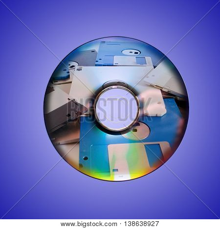 Dvd or cd and old floppy disk inside on blu background