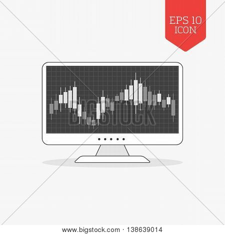 Computer With Candle Stick Graph Chart Icon. Stock Exchange Trading Concept. Flat Design Gray Color