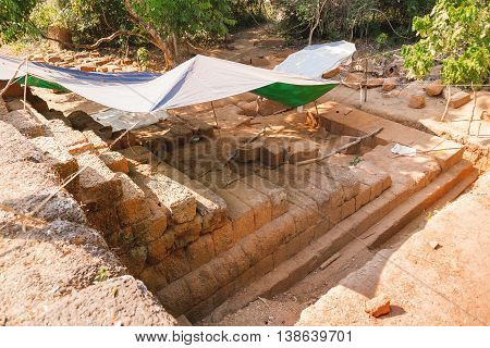 Archaeological excavations in Angkor Wat temple. Siem Reap Cambodia. UNESCO Heritage Site.