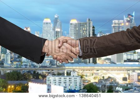 Teamwork For Success Of The Business In The Future. Double Exposure Image