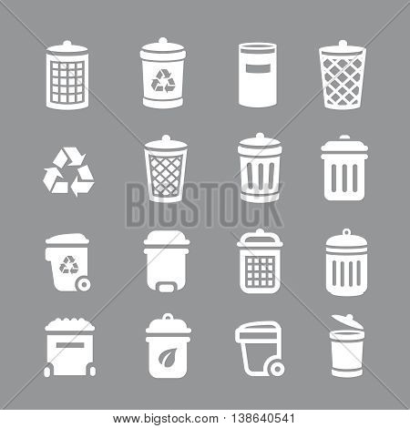 Trash can and recycle bin icons. Garbage, rubbish,  illustration