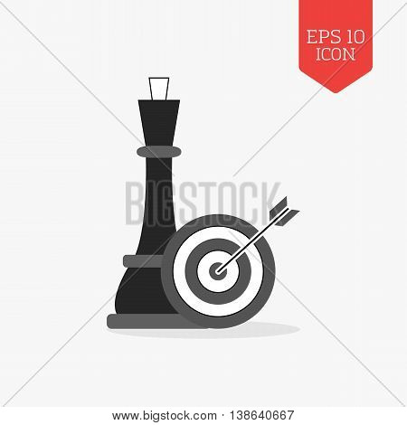 Chess Queen And Target With Arrow Icon. Strategy Concept. Flat Design Gray Color Symbol. Modern Ui W