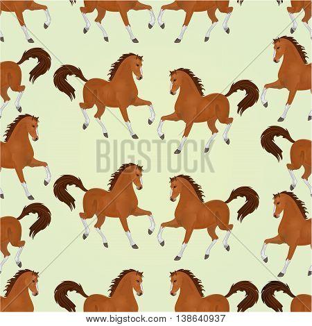 Seamless texture chestnut Horses stallions vector illustration