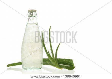 Aloe vera juice isolated on white background. Can help neutralize free radicals Contributes to aging. And help strengthen the immune system as well.