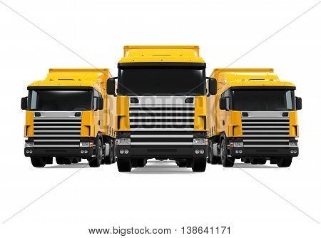 Trailer Truck Fleet isolated on white background. 3D render