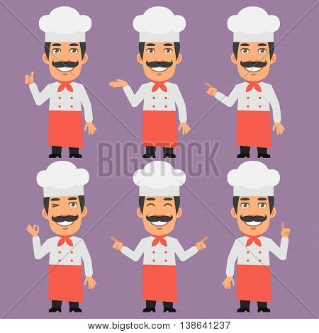Vector Illustration, Chef Shows and Indicates, Format EPS 8
