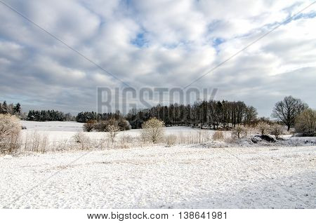 Winter Snow in Countryside European Farmland After Snowfall