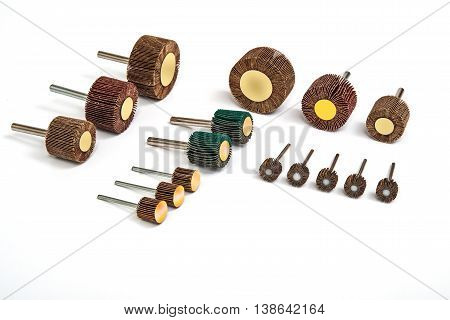 Grinding and polishing sanding drill bit set photo on white background