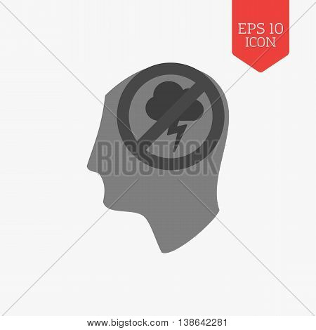 Head With Stop Thunderstorm Cloud Icon. Negative Thoughts Not Allowed Concept. Flat Design Gray Colo