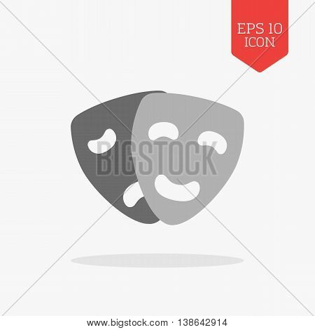 Comedy And Tragedy Masks Icon. Theatre Concept. Flat Design Gray Color Symbol. Modern Ui Web Navigat
