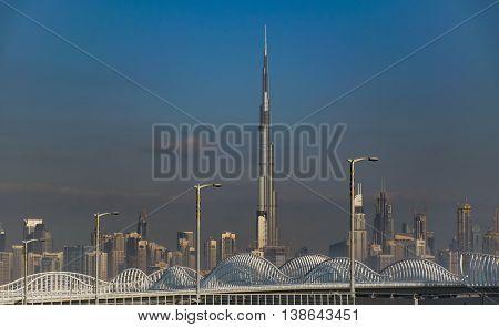 Dubai UAE -FEBRUARY 02 2016: Burj Khalifa Tower the highest building in the world