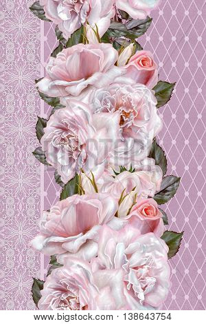 Vertical floral border. Pattern seamless. Flower garland bouquet of pink and lilac roses. Lace inserts openwork weaving vintage.