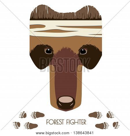 Vector cartoon bear head. Forest Fighter. Animal illustration