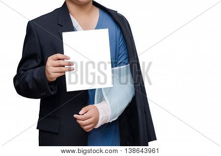 businessman with broken hand wearing an arm brace and blank card