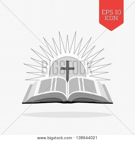 Open Bible With Sun And Cross Icon. Church Logo Concept. Flat Design Gray Color Symbol. Modern Ui We