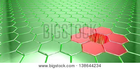 Green metal hexagon grid with light reflections and a hole surrounded by red shapes 3D illustration big data concept