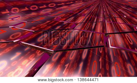 Big data concept digital red stream reflecting on a hexagon grid surface 3D illustration