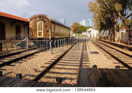 Old Jaffa railway station as a museum today in Neve Tzedek quarter of Tel Aviv.