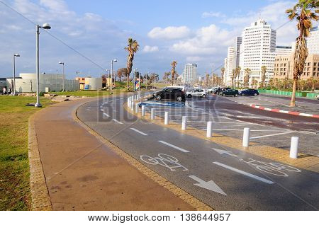 Urban landscape design at the coastal area of Tel Aviv.