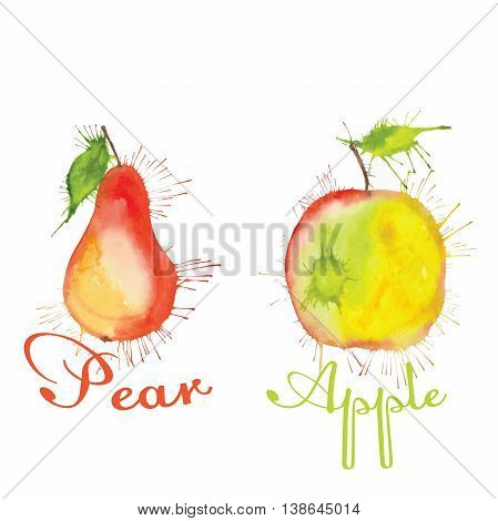watercolor collection of fruits pear, apple with the inscription