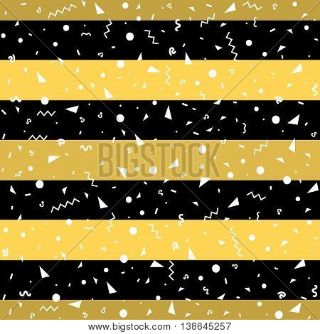 Striped geometric seamless pattern, trendy memphis cards design. 1980s retro background template. Vector eps 10 format.