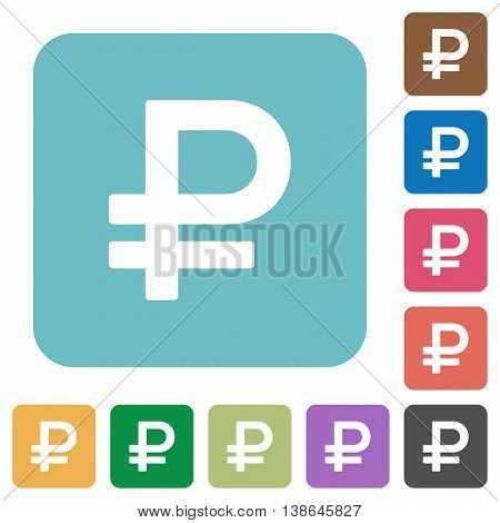 Flat ruble sign icons on rounded square color backgrounds.