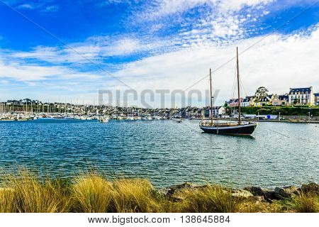 View of the harbour in Cabaret-Sur-Mer, Brittany, France