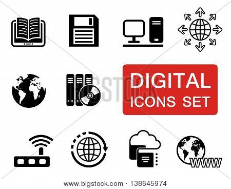 set of digital icons with red signboard
