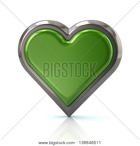 3D Illustration Of Green Heart Icon