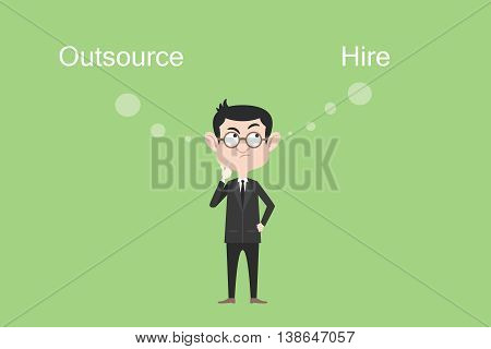 outsource or hire concept businessman confuse and think vector graphic illustration