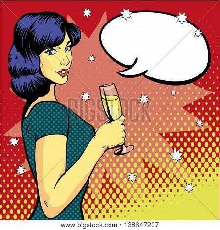 Woman with wine glass in pop art retro style. Comic vector illustration, girl with speech bubble. Beautiful woman drinking wine from a glass. Party celebration.