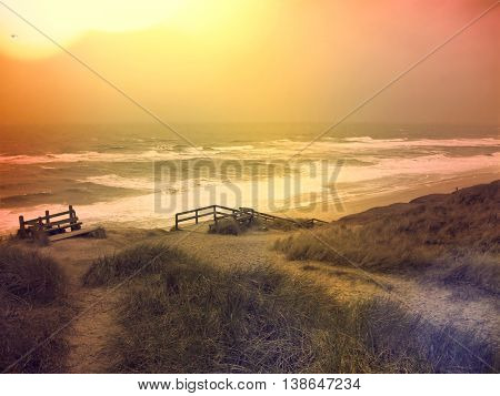 Lonely footpath through a beach dune landscape on Sylt. Beach scene with sunset on a beach of Sylt.