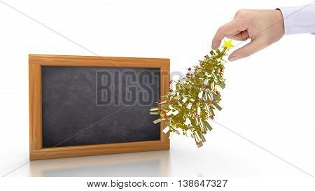Hand putting a small golden christmas tree next to a chalkboard preparing for the holidays 3D illustration