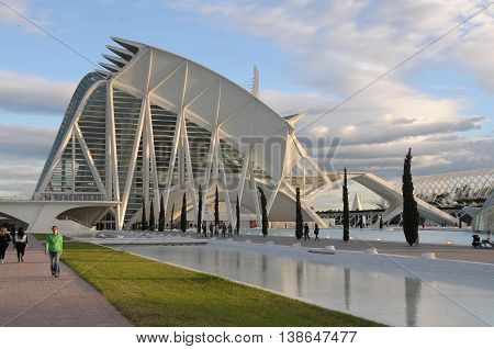 Valencia, Spain - november 06, 2009: Garden walks and buildings of modern architecture in the new part of the city