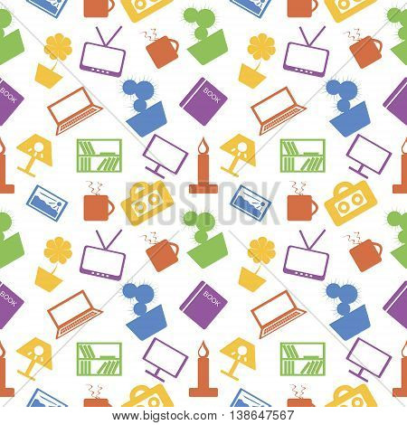 Seamless Vector Pattern. Background With Elements Of Home Decor