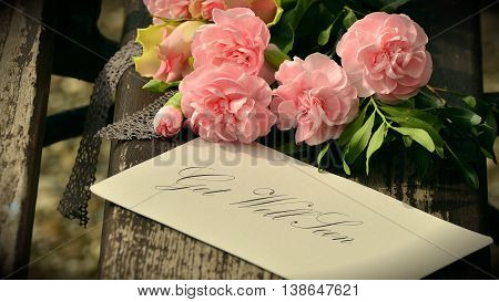 Pink Floral bouquet background and get well soon tag/card