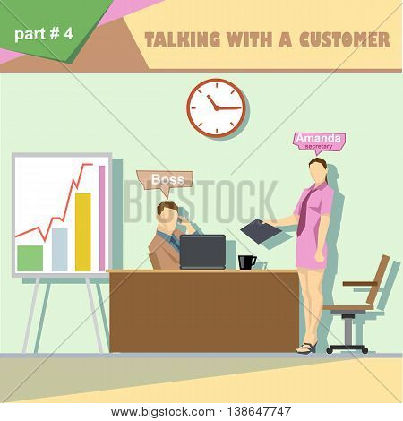 Business company roles situation infographics with boss and talking with a customer and secretary at work. Digital vector image