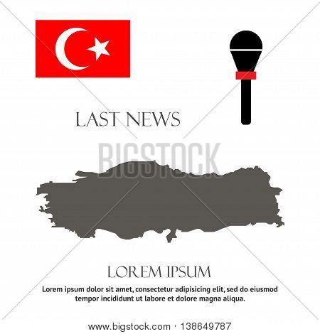 breaking news design Republic of Turkey recent events. Last news in country. Turkish map and flag. Can be used as banner of last news for web sites tv etc.
