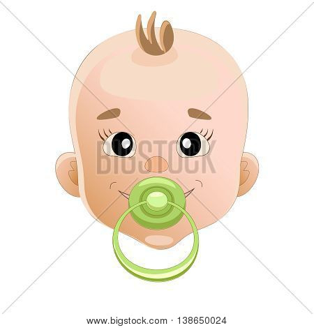 Baby sucks green pacifier. Baby smile. vector