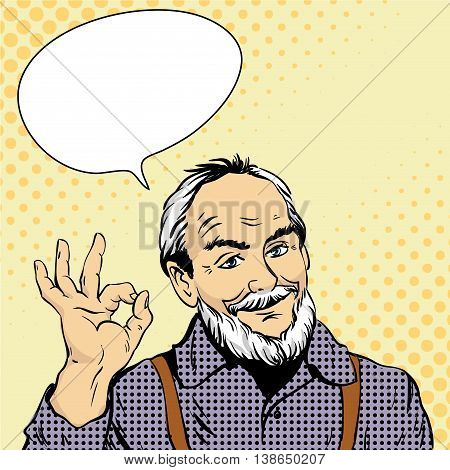 Old man shows OK hand sign. Vector illustration in retro comic pop art style. Design elements and stickers.