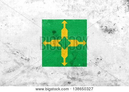 Flag Of Distrito Federal, Brazil, With A Vintage And Old Look