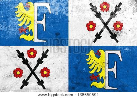 Flag Of Frydek-mistek, Czechia, With A Vintage And Old Look
