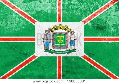 Flag Of Goiania, Goias State, Brazil, With A Vintage And Old Loo