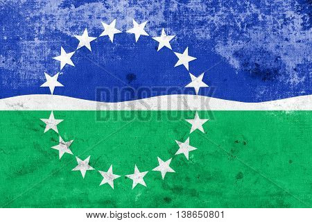 Flag Of Hampton Roads, Virginia, Usa, With A Vintage And Old Loo