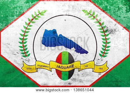 Flag Of Jaguare, Espirito Santo State, Brazil, With A Vintage An