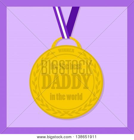 Flat icon of medal with ribbon for the best dad in the world