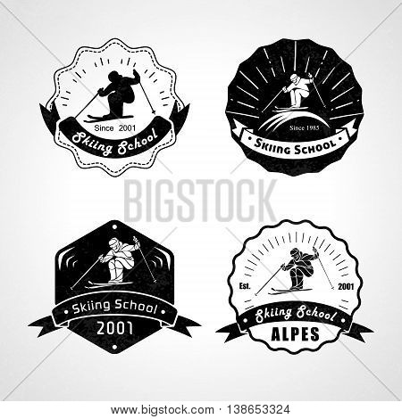 Vset of skiing logos, emblems and design elements. Logotype templates and vintage badges. Outdoor activity symbols