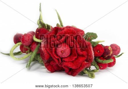 Wrap hair with flowers decoration in the form of felted wool on a white background