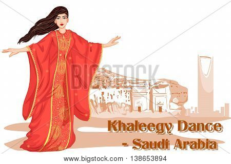 Vector design of Saudi Woman performing Khaleegy dance of Saudi Arabia