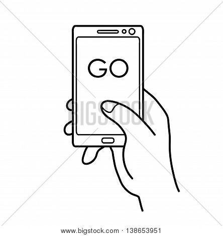 Playing Video Game on Smartphone. A hand drawn vector illustration of playing a popular video game.